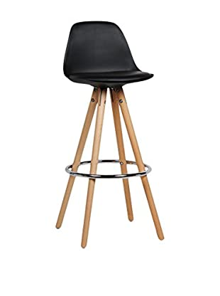 LO+DEMODA Set Taburete de bar 2 Uds. Wood Whing Negro