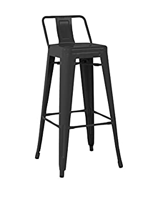 LO+DEMODA Set Taburete de bar 2 Uds. Metal Ural Square Negro