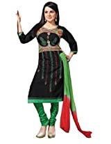 7 Colors Lifestyle Black Coloured Cotton Unstitched Churidar Material - ACVDR2205KI12