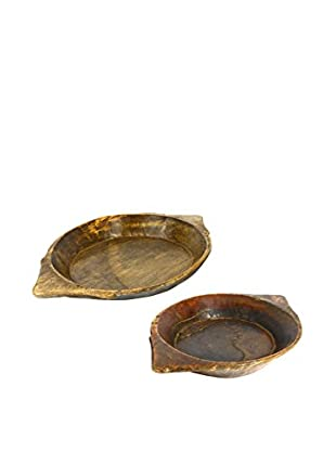 Uptown Down Set of 2 Vintage Wood Chapati Bowls