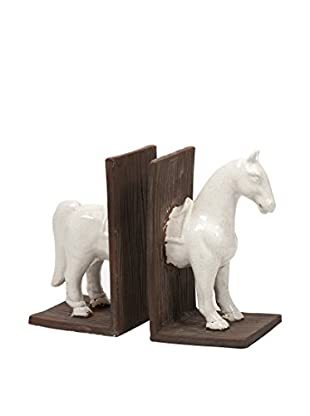 Set of 2 White Horse Bookends