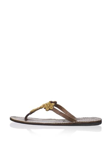 Laidback London Women's Robyn Thong Sandal (Gold)