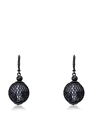 Riccova Country Chic Black Rhodium Plated Mesh Lucite Ball Dangle Earrings