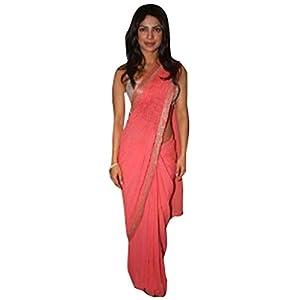 Priyanka Chopra Peach Designer Sari