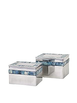 Set of 2 Hallowell Blue Mother of Pearl Aluminum Boxes, Silver
