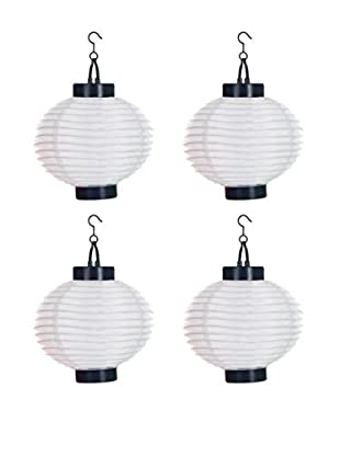 Pure Garden Set of 4 LED Outdoor Solar Chinese Lanterns, White