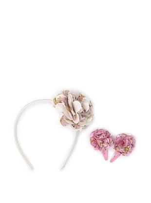 Liliella Cream Headband and Pink Hairclip Set