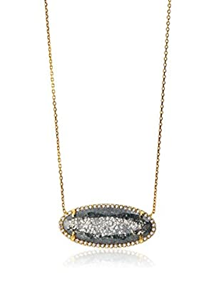 Argento Vivo Grey Quartz Oval Framed Stone Necklace