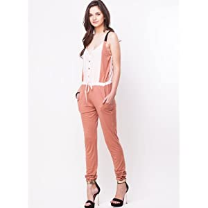 Jersey Woven Gold Button Strappy Jumpsuit