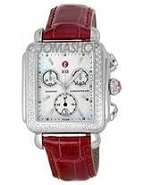 Michele Deco Chronograph Garnet Leather Ladies Watch Mww06A000338
