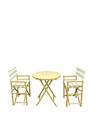 ZEW, Inc. Round Table & Director Chair Set, Celadon Stripes