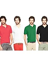Polo Men's T-Shirts Pack Of 4 Red, White, Green, Black tsxpolo9821
