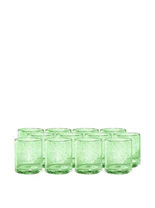 Artland Iris Set of 12 Double Old Fashioned Glasses, Light Green