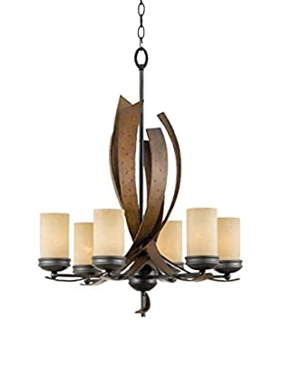 Varaluz Aizen 6-Light Chandelier, Hammered Ore/Aspen Bronze