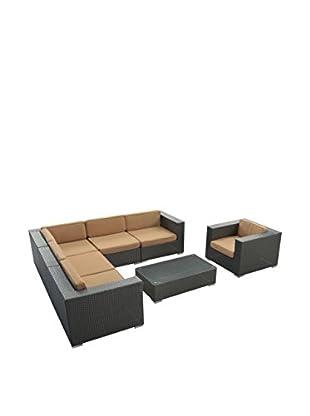 Modway Corona 7-Piece Outdoor Patio Sectional Set (Espresso/Mocha)