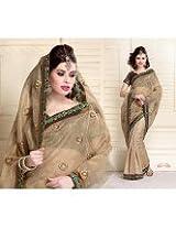 Beige color half and half designer party wear self pattern jaquard sari