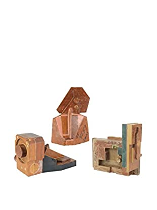 Uptown Down One-of-a-Kind Set of 3 Modern Wood Block Sculptures
