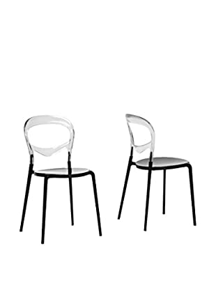 Baxton Studio Set of 2 Orlie Dining Chairs, Clear