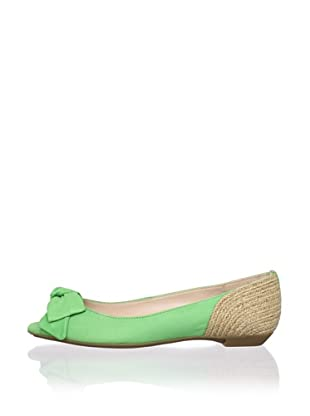 Schutz Women's Open-Toe Flat with Bow (Green Apple/Natural)