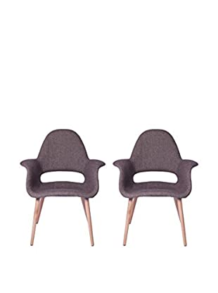 Manhattan Living Set of 2 Forza Dining Chairs, Brown