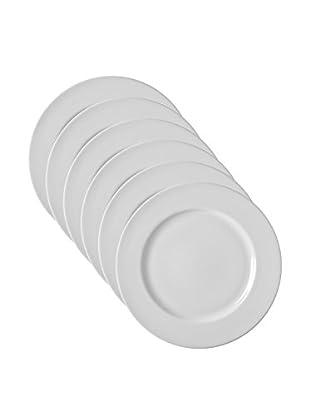 10 Strawberry Street Set of 6 Z-Ware White Porcelain Dessert Plates