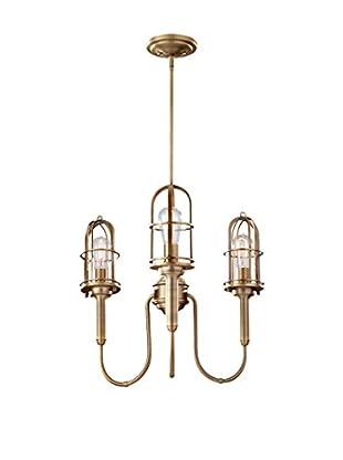 Feiss 3-Light Chandelier, Dark Antique Brass