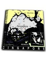 3dRose db1602421 Modern Map of Singapore in Vivid Color Drawing Book, 8 by 8-Inch