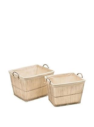 Premier Housewares Aufbewahrungskorb 2er Set 1901443 weiß
