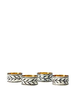 KAF Home Set of 4 Etched Vine Napkin Rings, Ivory/Black