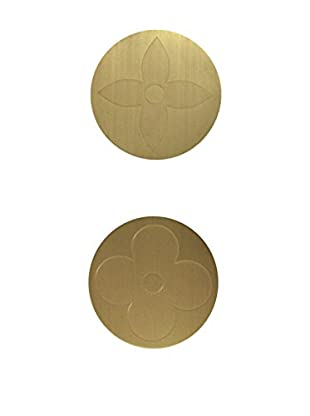 Louis Vuitton Set of 2 Coasters with LV Stamp, Gold