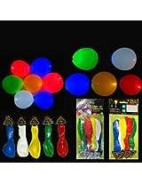 Flashing Disco LED Light Multi Colour Balloons 30 pcs