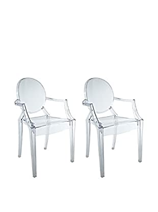 Manhattan Living Set of 2 Soho Arm Chairs, Clear