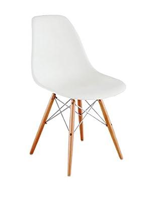 Lo+Demoda Stuhl 2er Set Wooden Chrome Edition weiß