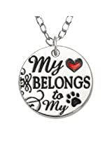 Rockin' Doggie Necklace, My Heart Belongs to My Dog with Red Heart