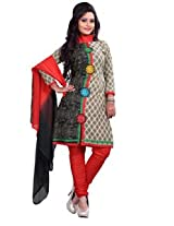7 Colors Lifestyle Cream And Black Coloured Cotton Unstitched Churidar Material - ADYDR2010HYBY