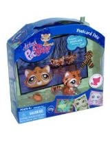 Littlest Pet Shop Postcard Pets Series Portable Bobble Head Pet Figure Gift Set 905 - Tiger with Mouse Toy, Scarf and Postcard