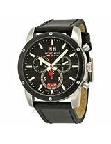 Mondaine Sport Ii Chronograph Black Dial Black Leather Mens Watch A6923033814Sbb