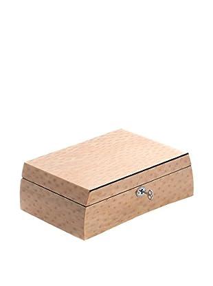 Bey-Berk Lacquered Salmon Burl Wood Jewelry Box