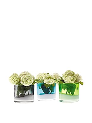Chive Flash Set of 3 Londonette Vases, Aqua/Grey/Lemon