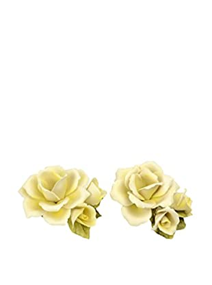 Uptown Down Previously Owned Set of 2 Porcelain Roses