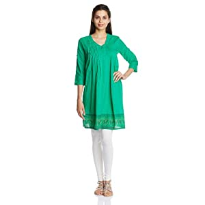 Karigari Women's Cotton A-Line Kurta (253077874_Dark Green_x-large)