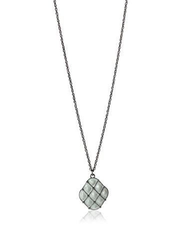 Tuleste Market Tufted Pendant Necklace, Gunmetal/Grey