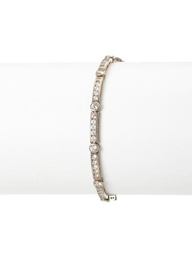 Lulu Frost 1920's Art Deco Multi-Shaped Crystal Bracelet, Silver