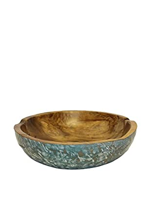 Asian Loft Teak Wood Shallow Bowl, Natural/Turquoise