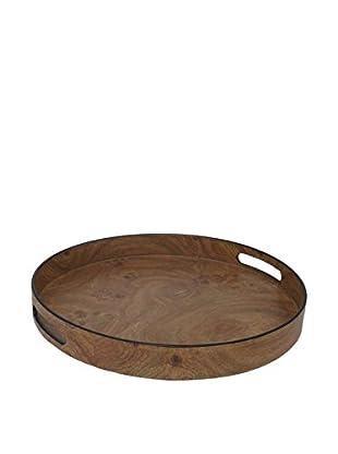Three Hands Brown Round Tray