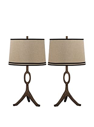 Safavieh Set of 2 The Packwood Table Lamps, Walnut