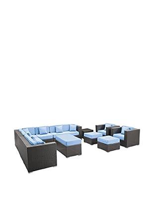 Modway Cohesion 11-Piece Outdoor Patio Sectional Set (Espresso/Light Blue)