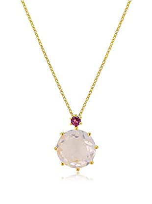 Melin Paris Collar Rhodolite Garnet, Rose Quartz Dorado