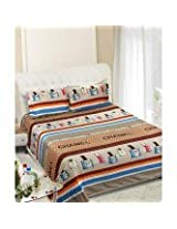 Beautiful Queen Size Bedsheets -Contemporary Design - Beige Color