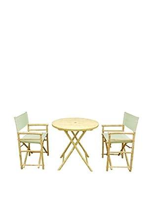 ZEW, Inc. Round Table & Director Chair Set, Celadon